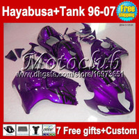 Wholesale 7Free gifts For SUZUKI Hayabusa GSXR1300 MC441642 GSX R1300 Purple black GSX R1300 ABS Fairing