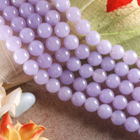 Wholesale 10MM VIOLET JADE ROUND LOOSE BEADS GEMSTONE STRAND quot L