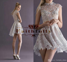 Wholesale 2014 Paolo Sebastian lace party dress illusion collar hi lo Prom dresses Cap sleeves Short high low Cheap Cocktail Dresses