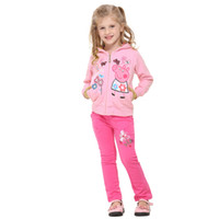 Wholesale New Fashion The Spring Autumn Fall Kids Girls Child Baby Cartoon Peppa Pig Flowers Butterfly Zip Pink Cotton Hoodie Jackets H0140090