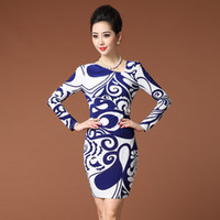 Wholesale 2014 New Fashion Women Dresses Long Sleeve Round Colar casual Dresses Sexy Printed Dresses Plus Size Blue And White Porcelain Design