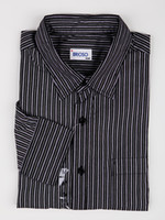 Cheap Casual Striped Deep Gray 100% Cotton Mens Shirt silk shirts for men r62 #u7-j7d