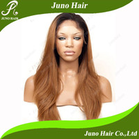 Wholesale Hot Selling Two Tone Ombre Hair Color Straight Synthetic Lace Front wig B HW220127 Juno Hair