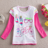 Cheap Hot selling Girls cute letter tshirt tshirts fake two piece back open t shirts with Rhinestone 18-6y cotton tee