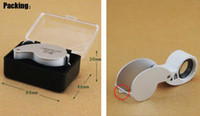 Wholesale Hight quality X mm Power Jeweler Loupe LED Loop Magnifier Magnifing Glass Lighted With Boxes