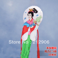 Wholesale Chinese Classical beauty girl soft kites with handle line ripstop nylon fabric kite outer door promotional weifang