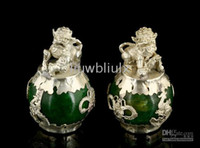 Wholesale PAIR OF CHINESE JADE FOO DOG STATUES