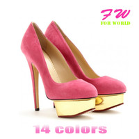 Cheap 2013Plus Size Fashion Sexy Pointed Toe Women's Pumps Neon Yellow Blue White Fushia Nude Thin Heels Party Bridal Shoes