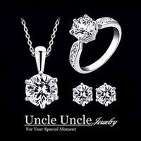 Wholesale 18K White Gold Plated Eight Arrows Eight Heart Zirconia Wedding Lady Jewelry Set Necklace Earrings Ring
