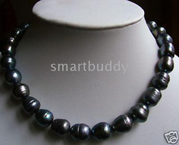 new 12-13MM Tahitian natural black pearl necklace 18 inch