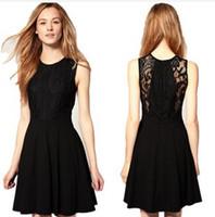 Wholesale Hepburn little black dress models lace waist dress spring summer fashion brand