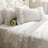 Wholesale Luxury Korean Embroidered Lace Ruffle bedding sets snow white duvet comforter covers solid color bedclothes cotton twin full queen king