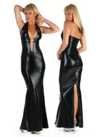 Cheap New Fashion Woman LIngerie Dresses Imitate Leather Long Halter Dresses Backless Sexy Black Dresses Large Naked Party Dresses Dance Dresses