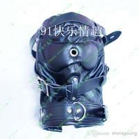 Adult PU Bondage Head Hoods Masks Head Gear Slave Trainers A...