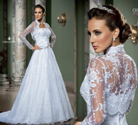 Cheap 2014 White Vintage With Jacket Wedding Dresses Lace Sweetheart Applique Sweetheart Sexy Long Sleeve Sheer Bridal Gowns Church Garden Wedding