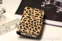 For Apple iPhone Metal Case Slim Leather Book Case w Card Holder Folio Stand for iPhone 4 4S -Leopard Print