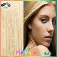 Wholesale 1 set quot quot Clip in Hair Extensions Human bleach blonde Remy Quality silky soft Straight Clip on Hair Extensions free ChinaPost