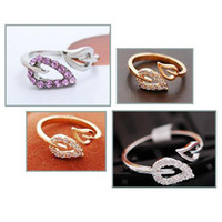 Wholesale S9Q Rhinestone Leaves Ring Fashion Alloy Gift Jewelry AAABAB