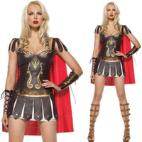 ancient roman costumes - Leather Ancient Greek Super walkland Costume Mascot Spanish Gladiator Suit Sexy Uniform Halloween Costumes For Women