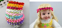Hair Sticks Lace Floral Newest baby kids handmade ribbons hair bows wreath children's flower girl dress lace rose flowers hair band headbands candy colors