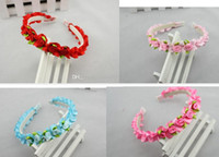 Cheap Lovely baby kids handmade ribbons hair bows wreath children's flower girl dress lace rose flowers hair band headbands candy colors