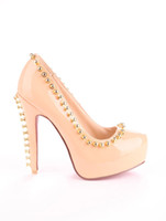 Cheap Fashion Naked Glazed PU Leather Rivet Women's High Heels shoes r66 #u14-LF0