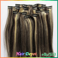 Wholesale 1 set quot quot b mix Clip on Hair Extensions Human Remy Quality silky soft Straight colored Clip in Extensions free ChinaPost