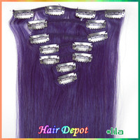 Wholesale 1 set quot quot lila purple Clip on Human Hair Extensions Remy Quality silky soft Straight colored Clip Hair Extension free ChinaPost