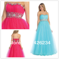 Cheap Hot Sale 2014 New Sexy Ball Gown Sweetheart Strapless Crystal Fuchsia Organza Prom Dresses Aqua Long Party Dress