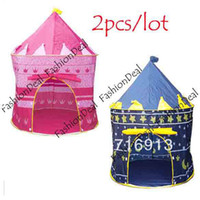 Tents Animes & Cartoons Polyester 2pcs lot 2013 New Lovely Baby Children Indoor&Outdoor Kids Portable Tent house hut Play Toy Two Color Free Shipping7378
