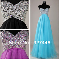 Cheap Blue Hot Sale Fuchisia Black A-line Sweetheart Strapless Organza Beaded Crystals Under 50 Empire Long Sequin Prom Dresses Gowns