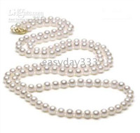 Wholesale 48 quot Japanese Akoya mm white pearl necklace K