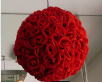 Wholesale cm Rose kissing ball artificial silk flower wedding party red color weddng