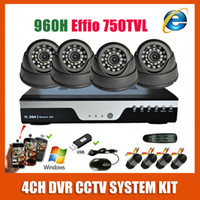 Cheap 2014 Best HD Sony 960H Effio 750TVL Video Surveillance Night Vision Indoor Dome 4CH CCTV Camera System Kit Home Security System