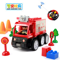 Cheap Free shipping Assembled electric remote control car futhermore large particles blocks car toy fire truck