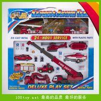 Cheap Fire truck toy set aerial ladder fire truck crane trailer rescue vehicle cars