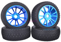Cheap SET RC 1:8 1 8 Off-Road Buggy Car Rubber Tyre Tires Metal Wheel Rim Blue M804B1