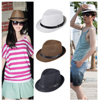 Wholesale 2013 New Fashion Womens Mens Unisex Fedora Gangster Cap Summer Beach Sun Straw Panama Hat Couples Label Lovers Hat with Belt