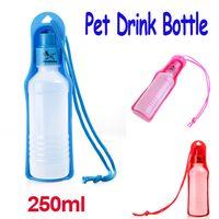 Feeding & Watering Supplies H8769 H8769BL H8769R Dogs Pink Blue Red Potable Pet Dog Cat Water Feeding Drink Bottle Dispenser Travel Bowl 250ml,5pcs lot, Freeshipping Dropshipping