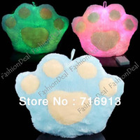 Wholesale New Plush Fashion Popular Animal Bear s Paw Shape LED Light Up Colorful LED Pillow Color