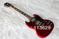Solid Body 6 Strings Mahogany Electric Guitar, White,Double Cut Way, SG Wine Red
