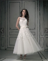 Wholesale Justin Alexander Beach Wedding Dresses Bateau Beaded Bow Lace Keyhole Back Covered Button Ankle Length Bridal Dresses Bridal Gowns