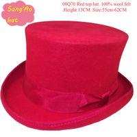 Wholesale Red top fez Payer top caps top magical cap high cm wool felt plug cap Fedora wear in school party festival wedding meeting Ascot