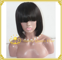 Wholesale Factory price human hair short bob wigs full lace guleless for black women stock Density lace front wig bob style