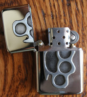 Cheap Vintage chrome Carved BRASS KNUCKLE cigarette biker Pocket Lighter US SELLER