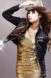 Fashion Womens Gold Sequins Bandage Bodycon Party Dress Clubwear Mini Dress 351