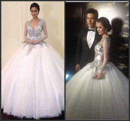 Wholesale Custom made New Beaded Crystal Hollywood level Long Sleeves Wedding Dresses Court Train Backless Gown For Tonight Plus Size Brides