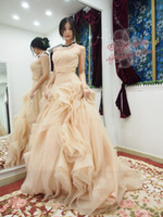 Cheap Free Shipping Real Picture Model A-line Organza Vera Champagne Wedding Dress Made In China T-112