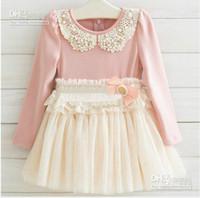 best pearl brands - Brand New Korean Guangdong Best Quality Fall Children Dress Korean Pearl Pure Cotton Net Yarn Girls Lace Dress Year Kids Clothing QZ61