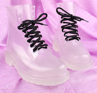 bare flats - 2013 PVC Transparent Womens Colorful Crystal Clear Flats Heels Water Shoes Female Rainboot Martin Rain Boots